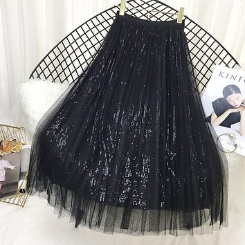 Spring Long Tulle  Sequined Pleated Skirts