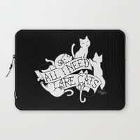 All I need are Cats Laptop Sleeve by Elena Tsuya
