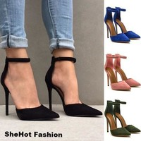 Women Casual Suede Shallow Slingback Pointed Toe Pumps