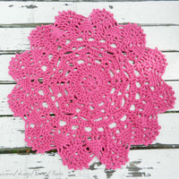 Lace Crochet Doily Rug, floor accent rug, magenta- area rug, Cottage Chic- carpet- Rustic chic home decor- round rug- nursery rug, small rug