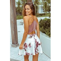 Cream Floral Short Dress with Lace Back