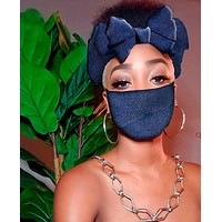 Navy Pre Tie Satin Lined Slip On Headwrap Headband and Mask