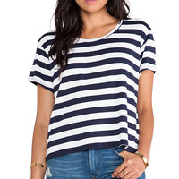 Feel the Piece Tommy Crop Top in Navy