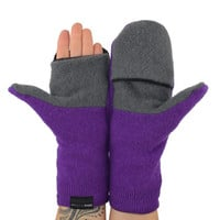 Convertible Mittens in Purple and Grey - Flip Top Mittens - Recycled Wool - Fleece Lined