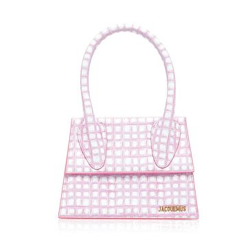 Mini handbag shoulder Le Chiquito plaid leather bag pink