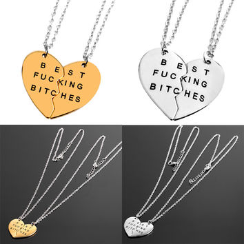 """""""Best B-tches """" Pendant Necklaces For Best Friends Silver&Gold"""