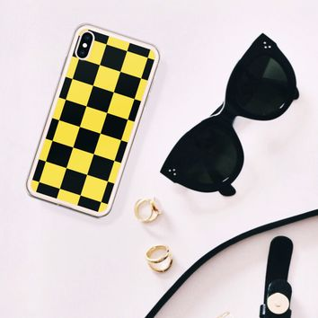 Black and Yellow Checkerboard iPhone Case