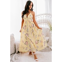 Day At The Beach Floral Maxi Dress (Mustard)