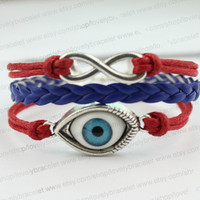 Infinity bracelet and lucky blue eyes of evil personality, Marine braided leather bracelet, one of the best gifts
