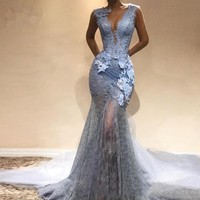 Evening Dress Deep V Neck Elegant Prom Dress Appliques