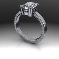 Forever Brilliant Moissanite Radiant Cut and Diamond Engagement Ring 2.19 CTW
