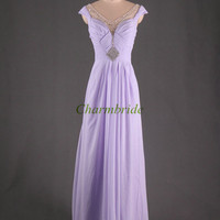 unique elegant chiffon evening dresses with rhinestones sexy v-neck floor length prom dress hot cheap party gowns on sale