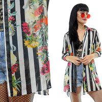 vintage 90s SHEER striped floral oversized blouse duster jacket boho hippie paper thin soft grunge small medium