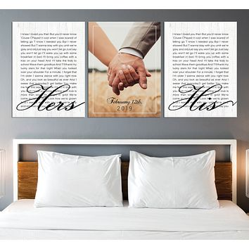 Wedding Vow First Lyrics Personalized Wall Art Canvas Print Anniversary Gift Art Wedding Gift