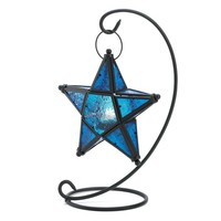 Blue Glass Star Lantern Stand
