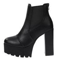 Alannah Platform Chunky Square Heel Ankle Boots