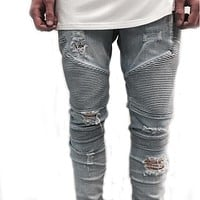 hip-hop Men Jeans Denim distressed Men's Slim Jeans pants Biker jeans skinny rock ripped jeans