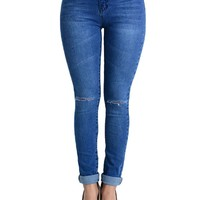 High Waisted Ripped Skinny Jeans