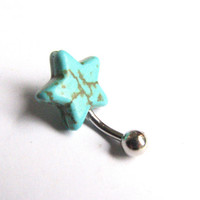 Turquoise Star Belly Button Ring Non Dangle Belly Button Jewelry Blue Magnesite Charm Bellybutton Ring Navel Piercing