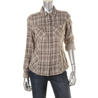 Style & Co. Womens Cotton Plaid Western Top