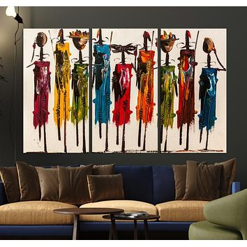 Abstract African Women Large Wall Art Canvas Print