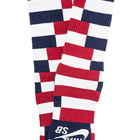 Nike SB Socks Striped Dri-Fit Skate Crew in White, Midnight Navy and Deep Cardinal Blue