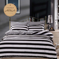 striped bedding sets 4pcs twin queen full Zebra black and white blue duvet cover set houndstooth bedclothes Checkered  #2