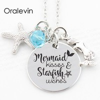 MERMAID KISSES AND STARFISH WISHES Engraved Mermaid Pet Pawprint Pendant Charms Necklace Gift for christmas Jewelry 10Pcs/Lot