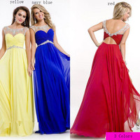 Discount 2014 Prom Dresses Sheer Scoop Neck Crystals Beaded Open Back Chiffon Royal Red Blue & Yellow Color Floor Length Evening/Homecoming Gowns