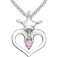 Disney® Youth Pink Sapphire Heart Diamond Crown Necklace