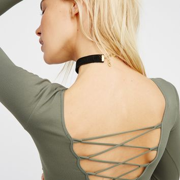 Free People All Laced-Up Long Sleeve Layering Top