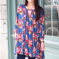 Perfectly Floral Keyhole Tunic {Blue Mix}