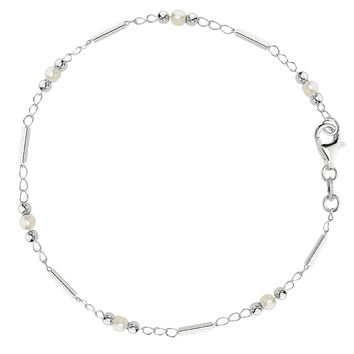 Pearl Fancy Chain Anklet In Sterling Silver