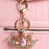 Bolbove Shiny Queen Crown Keychain Crystal Blingbling Keyring Rhinestones Purse Pendant Handbag Charm (Colorful)