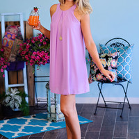 Claira Sleeveless Shift Dress: Lavender