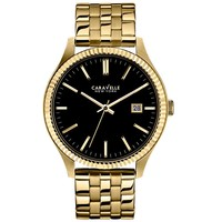 Men's Caravelle New York Gold-Tone Black Dial Watch