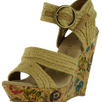 Very Volatile Maya Women's Canvas Wedge Sandals Floral