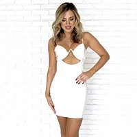 Shine Latex Bodycon Dress in White