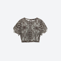 CROP TOP - Blouses-TOPS-WOMAN   ZARA United States