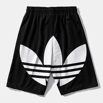 Adidas New fashion letter leaf print shorts Black
