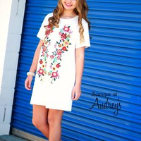 Umgee Off White Dress with Colorful Embroidered Design