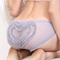 Seductive Sheer Lace Women Lingerie Panties with 2 Cute Ruffle Hearts, Sexy Lingerie LM