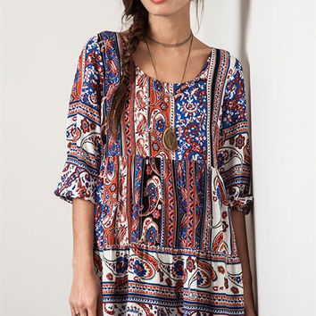 Peasant Paisley Dress - Blue
