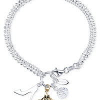 Disney Cinderella Charm and Cubic Zirconia Bracelet in Sterling Silver and 14k Gold-Plated Sterling Silver, Only at Macy's - Jewelry & Watches - Macy's