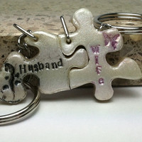 Husband and Wife Puzzle Pieces Interlocking  Key chains Gecko and Butterfly