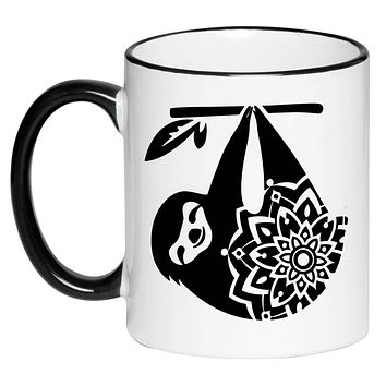 Mandala Sloth Cute Adorable Mug Coffee Cup, Gift for Her, Gift for Women, Tea, Hot Chocolate, 11 Ounce Ceramic Mug