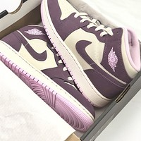 Nike Air Jordan 1 Mid Fashionable Women Casual Sport Running Shoes Sneakers White&Pink&Purple