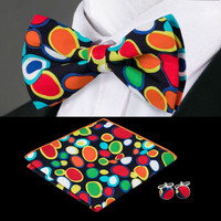 Men's Adjustable Print Colorful Bow Ties Hanky Cuff links Sets For Men`s Formal Wedding Party Groom
