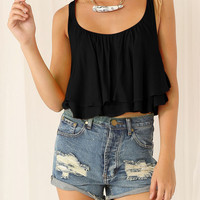 Black Layered Cropped Vest