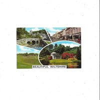 1981 Color Photo Print Postcard of Wiltshire, England, Posted with 20P Stamp, Stourhead, Avebury, Castle Combe, Warminster, Vintage Ephemera